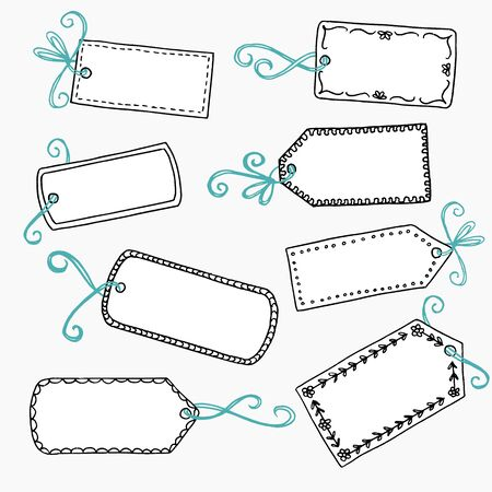 hand drawn cute gift labels or price tags with blue bow royalty