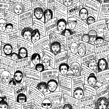 충격과 슬픈 얼굴을 가진 다양한 사람들의 원활한 패턴, 선거에 관한 신문 읽기
