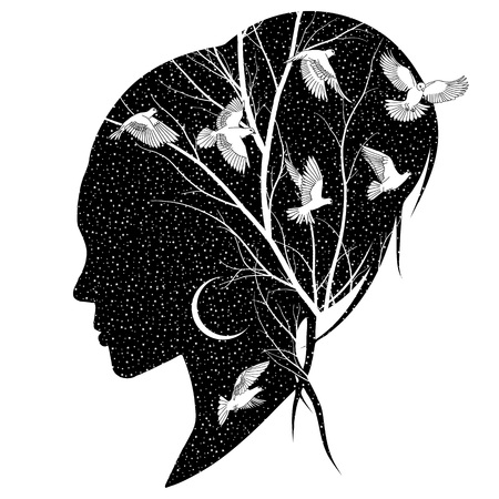 Silhouette of a female head with the night sky, moon, branches and birds Illustration