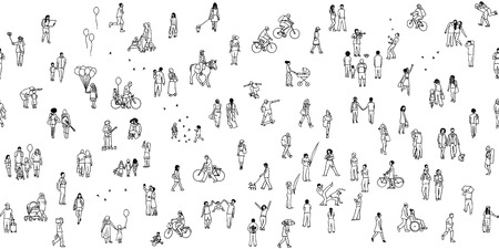 A seamless banner of tiny people, can be tiled horizontally: pedestrians in the street, a diverse collection of small hand drawn men and women walking through the city Фото со стока - 79919062