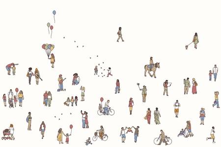 Een naadloze banner van kleine mensen, kan horizontaal betegeld worden: voetgangers in de straat, een diverse collectie kleine handgetekende mannen en vrouwen die door de stad lopen