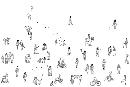 A seamless banner of tiny people, can be tiled horizontally: pedestrians in the street, a diverse collection of small hand drawn men and women walking through the city