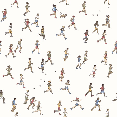 Seamless pattern of tiny marathon runners: a diverse collection of small hand drawn men and women running from left to right 向量圖像