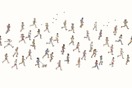 Seamless banner of tiny marathon runners, can be tiled horizontally: a diverse collection of small hand drawn men and women running from left to right Illustration