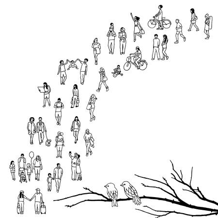 Petit garçon marchant dans un arbre, isolé sur fond blanc Banque d'images - 80693020