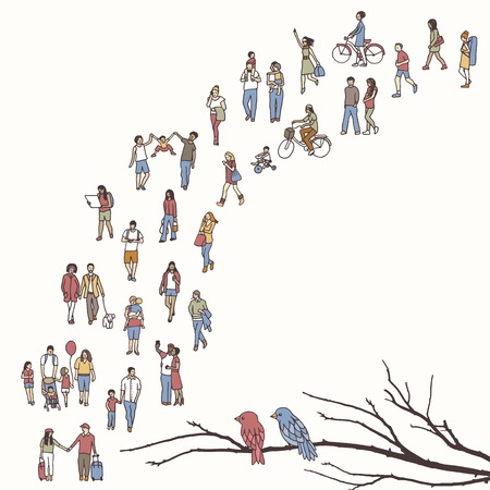 Ragazzino che cammina in un albero, isolato su priorità bassa bianca
