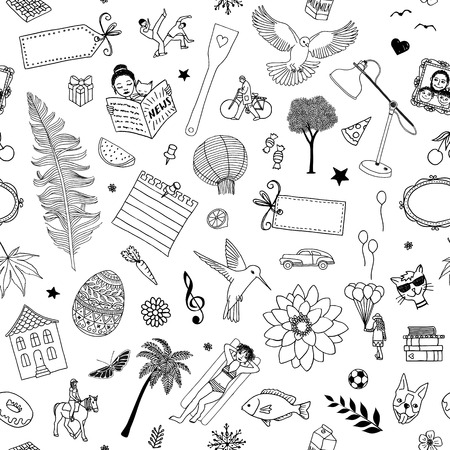 dog: Seamless pattern of random items, like birds, flowers, trees, cats, frames, people, labels etc.