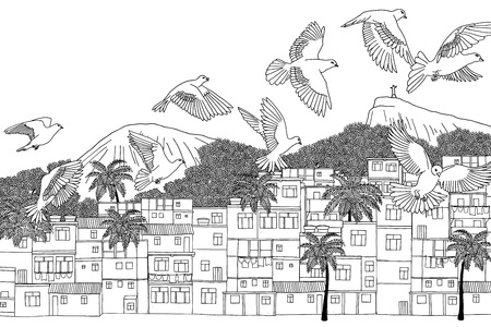 Birds over Rio, hand drawn illustration of Rio de Janeiro, Brazil with a flock of birds