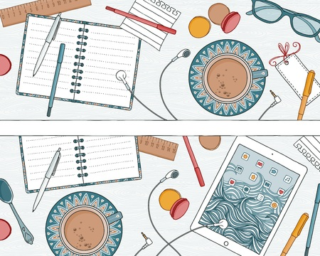 Two hand drawn banners: top view illustration of a desk with notebooks, tablet, coffee and pens