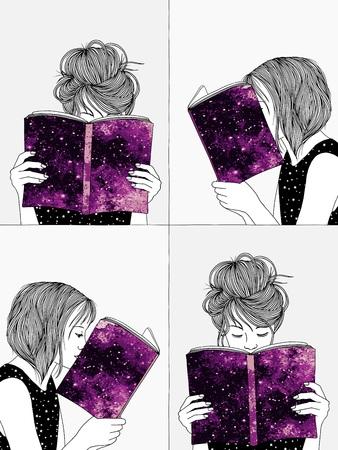 手を読んで、自分の本の後ろに自分の顔を隠す女の子のイラストを描き下ろし  イラスト・ベクター素材