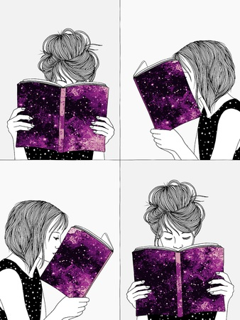 Hand drawn illustrations of girls reading, hiding their faces behind their books