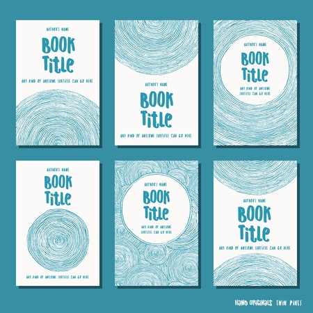 Abstract brush circle - set of six hand drawn book cover templates