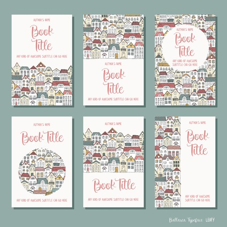 Colorful houses - set of six hand drawn book cover templates Illustration