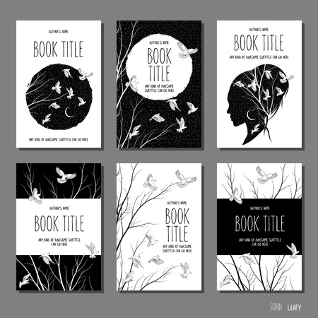 White doves and branches - set of six hand drawn book cover templates in black and white Illustration