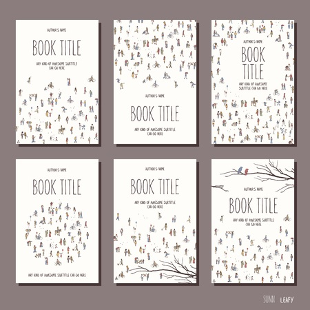 Tiny people - set of six hand drawn book cover templates