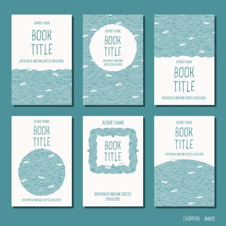 Waves and little paperboats - set of six hand drawn book cover templates Ilustração
