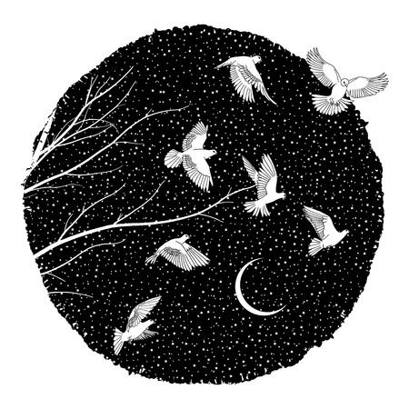 Artistic illustration of white doves flying at night