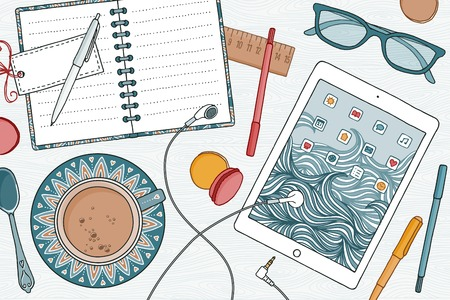 Top view of a desk with notebooks, tablet, coffee and pens Illustration