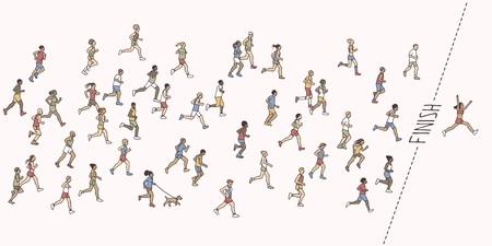 작은 손으로 그려진 마라톤 선수와 결승선을 가로 지르는 승자 일러스트