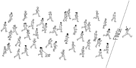 Tiny hand drawn marathon runners and a winner crossing the finish line