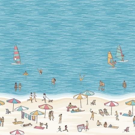 Sommer Illustration der kleinen Leute zu Fuß, Schwimmen, Sonnenbaden und Windsurfen am Strand mit Platz für Text. Standard-Bild - 84080551