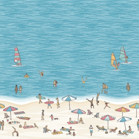Summer illustration of small people walking, swimming, sunbathing and windsurfing at the beach with space for text.