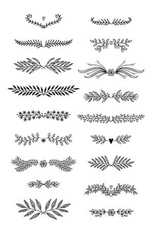 Hand getrokken bloemen tekst scheidingslijnen met bloemen en bladeren. Stock Illustratie