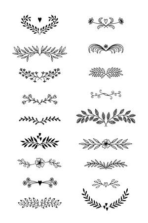 손으로 그려진 된 꽃 텍스트 구분선 꽃과 나뭇잎.