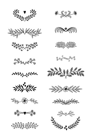 Hand drawn floral text dividers with flowers and leaves. Ilustracja