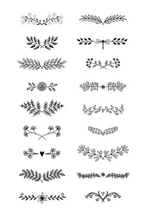 花と葉で手描き花テキスト仕切り。