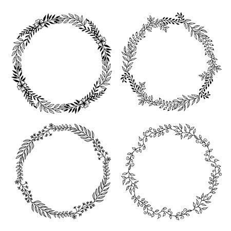 Set van 3 van de vier bloemenkransen gemaakt van handgetekende bladeren en bloemen.