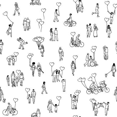 Liefde is overal - naadloos patroon van kleine mensen die hartvormige ballonnen vasthouden - een gevarieerde verzameling van kleine handgetekende mannen, vrouwen en kinderen in zwart en wit.