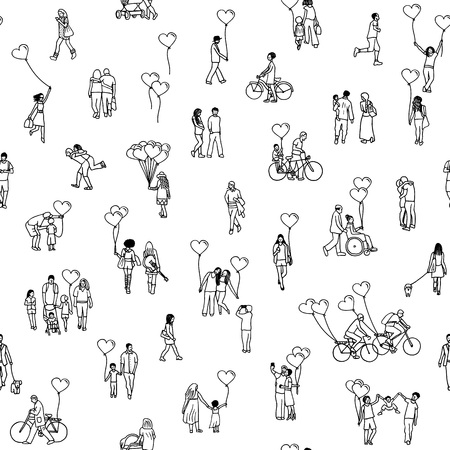 Love is all around - seamless pattern of tiny people holding heart shaped balloons - a diverse collection of small hand drawn men, women and kids in black and white. Illustration