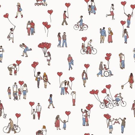 Liefde is overal - naadloos patroon van kleine mensen die hartvormige ballonnen vasthouden - een gevarieerde collectie kleine handgetekende mannen, vrouwen en kinderen. Stock Illustratie