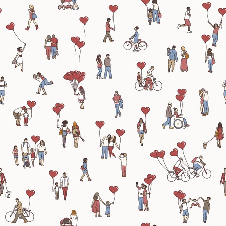 Love is all around - seamless pattern of tiny people holding heart shaped balloons - a diverse collection of small hand drawn men, women and kids. Иллюстрация