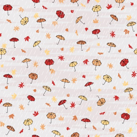 Seamless autumn pattern with tiny umbrellas in the rain