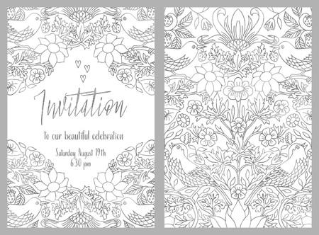 手で招待状カードのテンプレート描画ヴィンテージ花柄  イラスト・ベクター素材