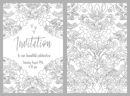 Invitation card template with hand drawn vintage floral pattern