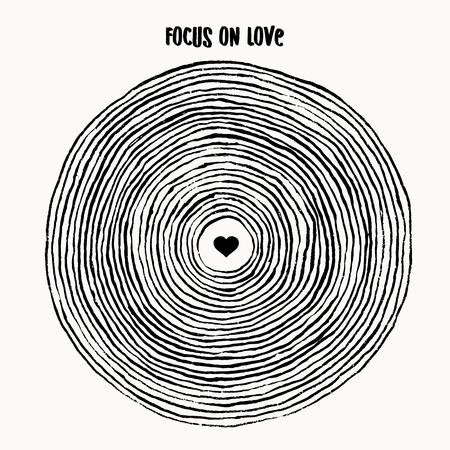Focus op liefde - eenvoudige, conceptuele illustratie van brushcircle met hart in het midden Stock Illustratie