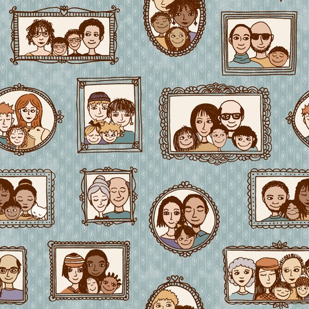 Seamless pattern of cute family pictures hanging on the wall Çizim