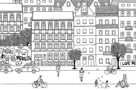 People walking through Berlin- Hand drawn urban black and white scene