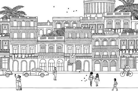 하바나를 통해 걷는 사람들 - 손으로 그려진 도시 흑백 장면