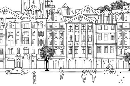 プラハ-手描き下ろし都市黒と白のシーンを歩く人々