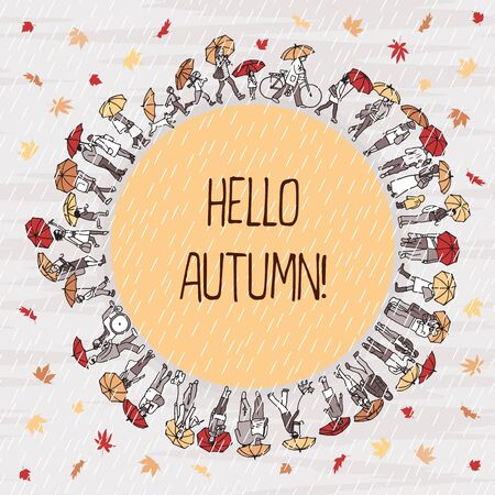 Hello Autumn! Tiny people holding their umbrellas in the rain, around a yellow circle with space for text