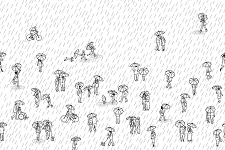 Black and white banner with tiny pedestrians with umbrellas in the rain, can be tiled horizontally Ilustração