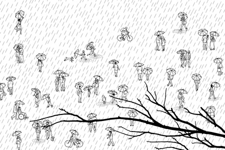 Tiny people with umbrellas in the rain and tree branch
