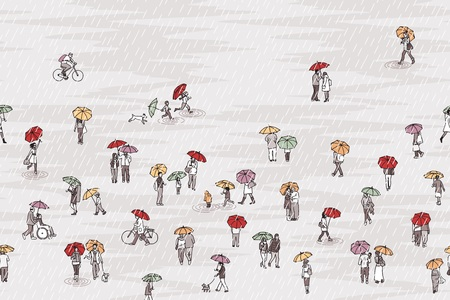 Banner with tiny pedestrians holding colorful umbrellas in the rain, can be tiled horizontally
