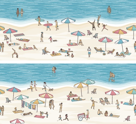Tiny people at the beach (banner), vector illustration.