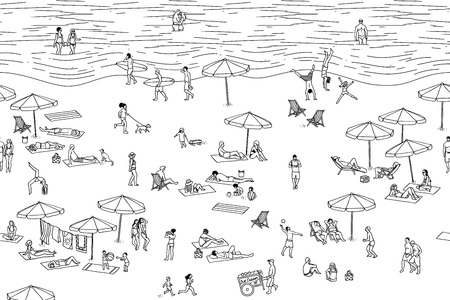 Tiny people at the beach (black and white)