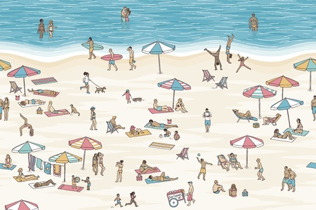 Tiny people at the beach vector illustration. Illustration